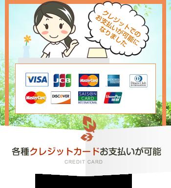 各種クレジットカードお支払が可能